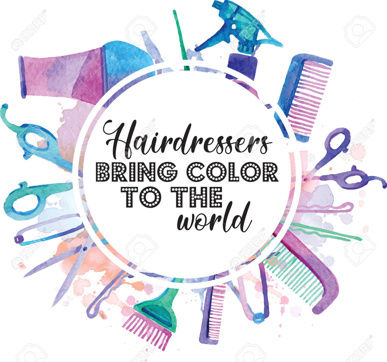 Hairdresser Bring Color To The World quote on white background. Vector illustration. - 159336142