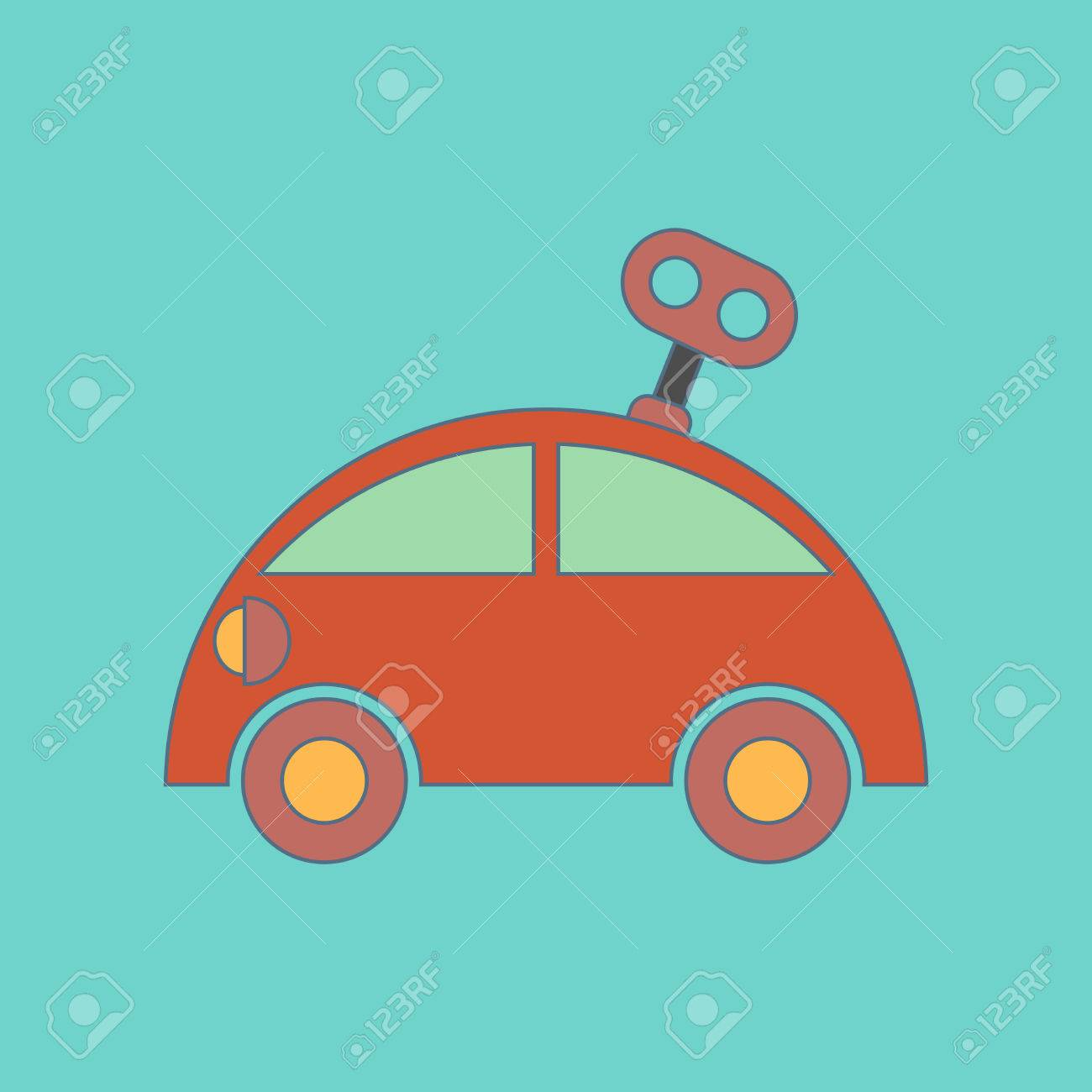 Flat Icon On Background Kids Toy Car With Key Royalty Free Cliparts