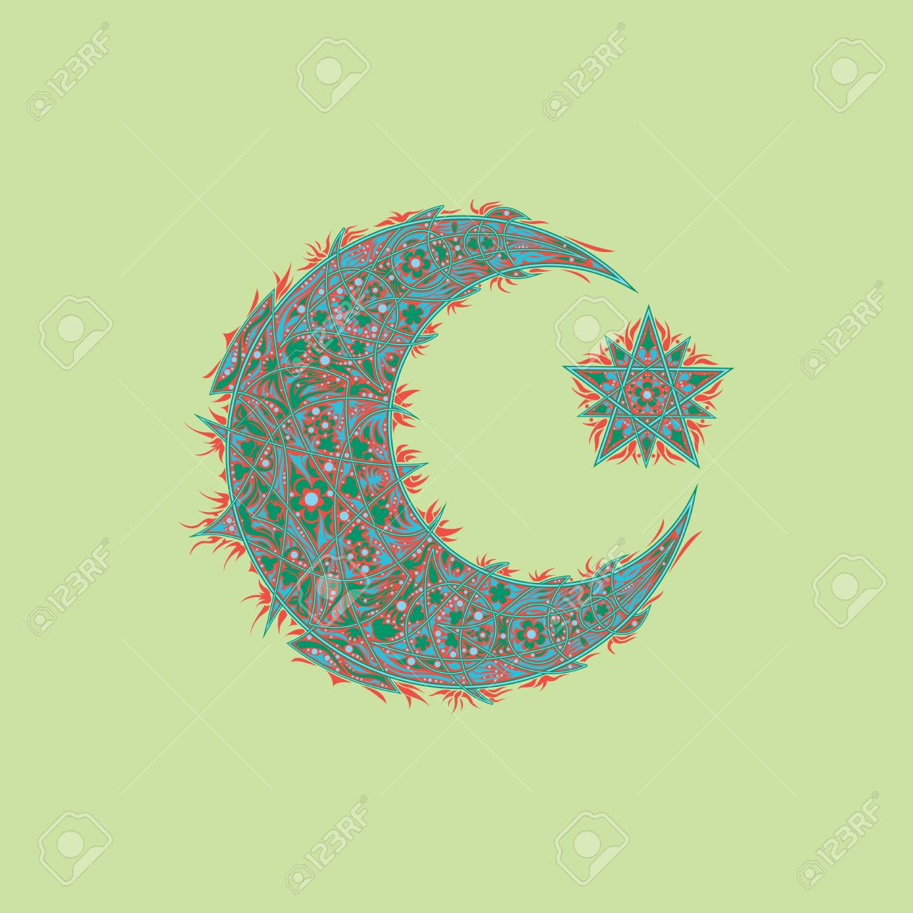 Oriental Pattern Moon And Stars Islam Arabic Turkish Moroccan