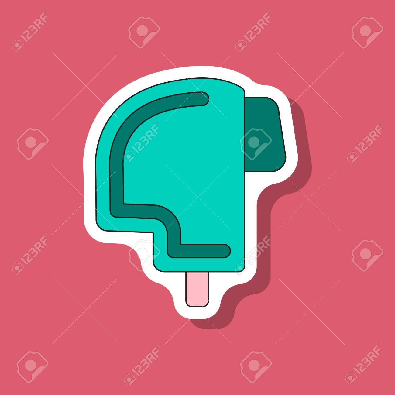 Paper sticker on stylish background ski helmet stock vector 84245855