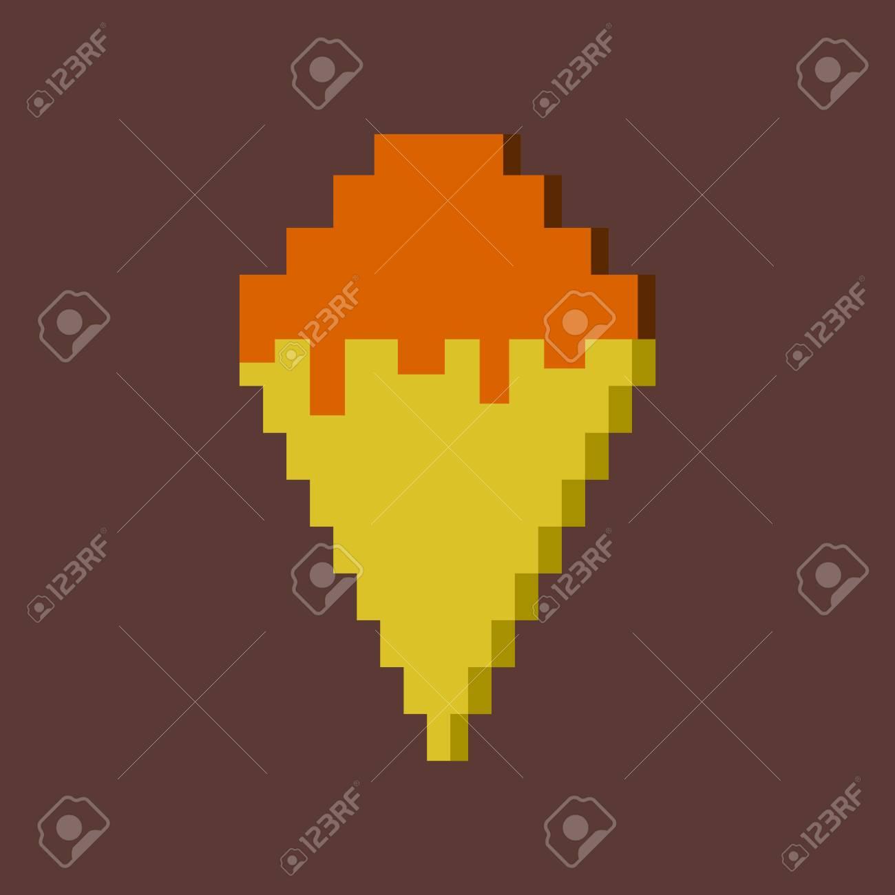 Icône De Pixel Dans Un Cône De Glace à Plat