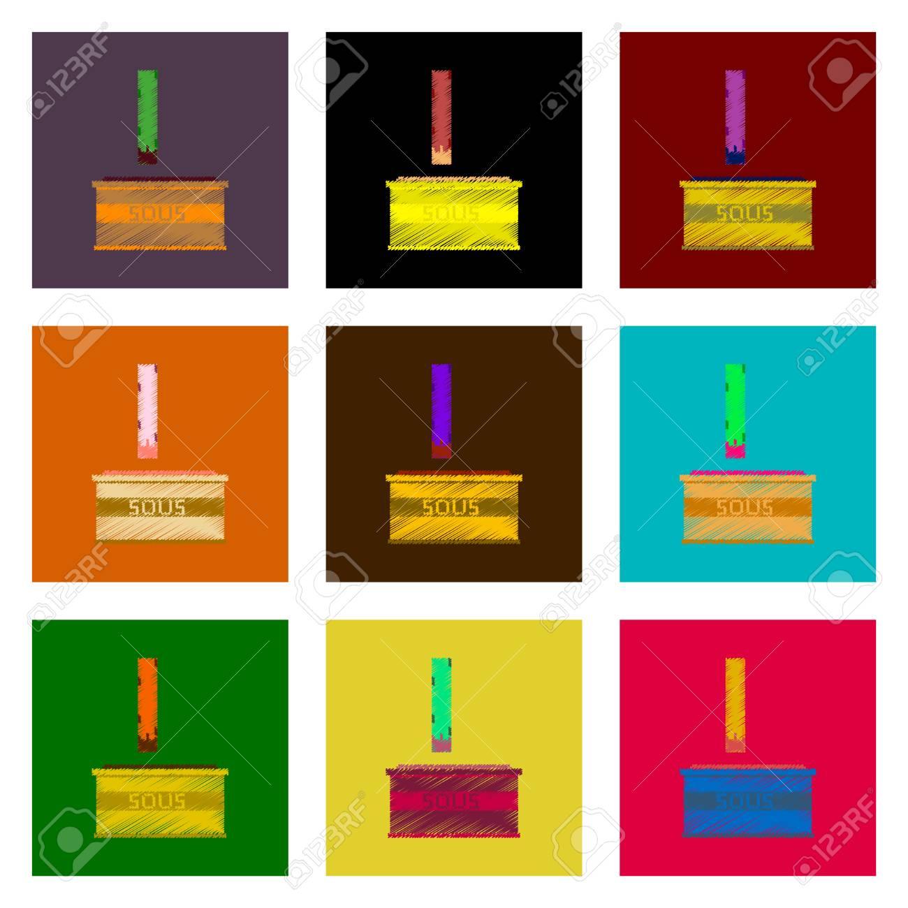 Ensemble De Plat Ombrage Icône De Style Plat Pixel Frites Et Sauce