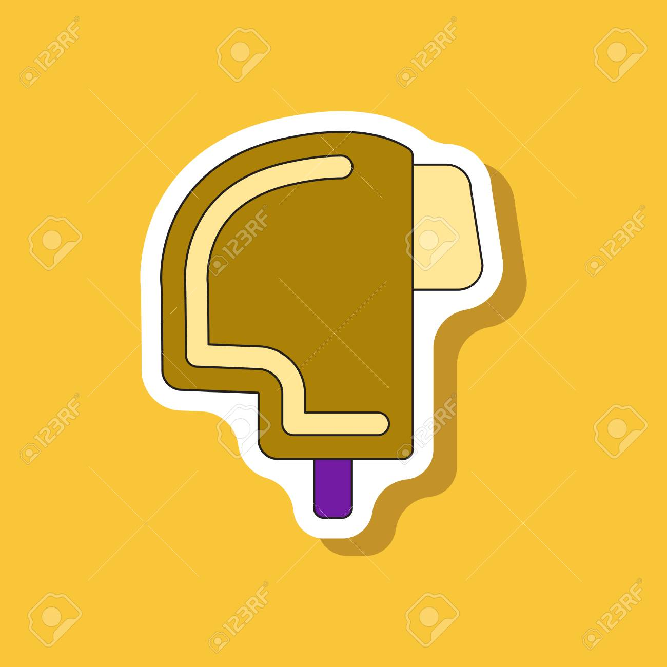 Paper sticker on stylish background ski helmet stock vector 94923831