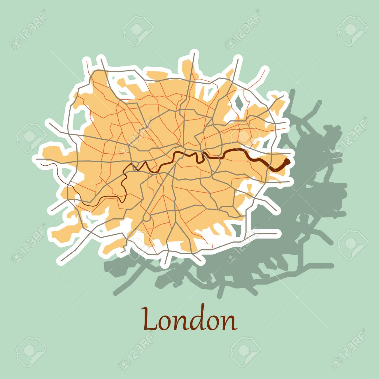 sticker color map of london united kingdom city plan of london vector illustration