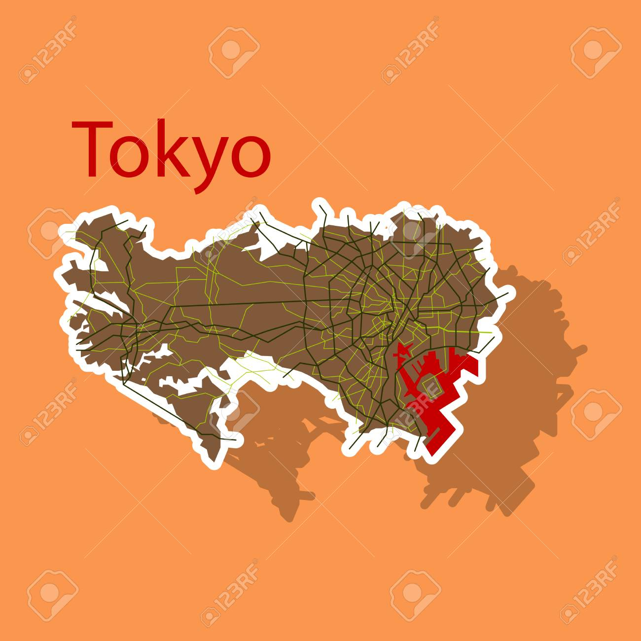 Picture of: Japan Tokyo Top View Map Showing Streets Design On Top Royalty Free Cliparts Vectors And Stock Illustration Image 99313085