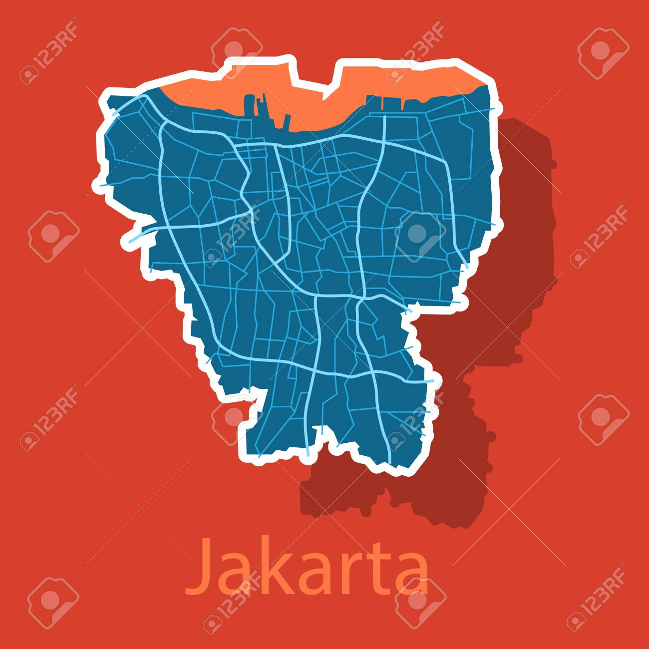 Sticker Outline Map Of The Indonesian Capital Jakarta Royalty Free