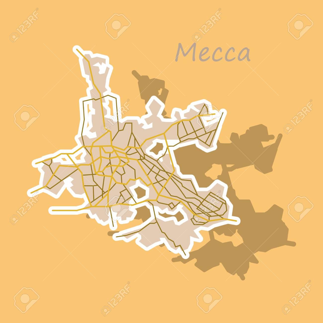 Mecca Map Saudi Arabia, Sticker Illustration. Royalty Free Cliparts ...
