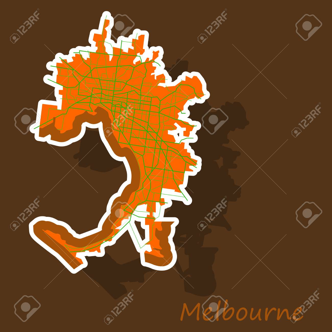 Australia Melbourne Map.Melbourne Australia Map In Retro Style Sticker Illustration