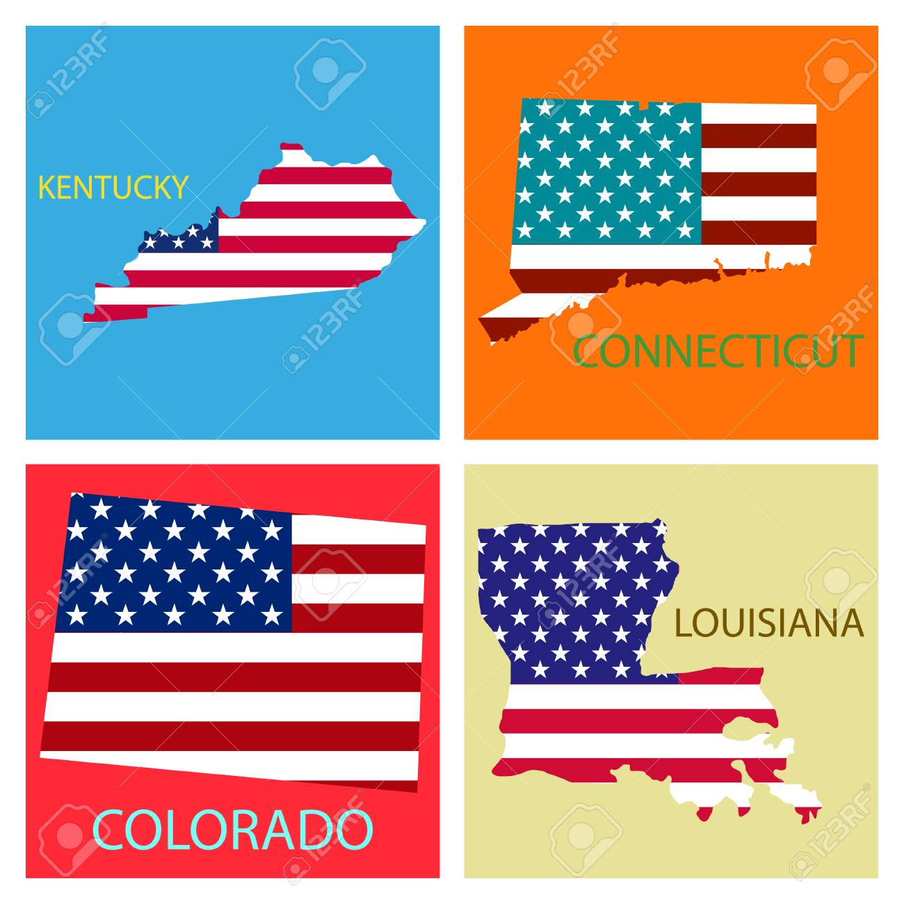 Poster map of United States of America with state names. Flag..