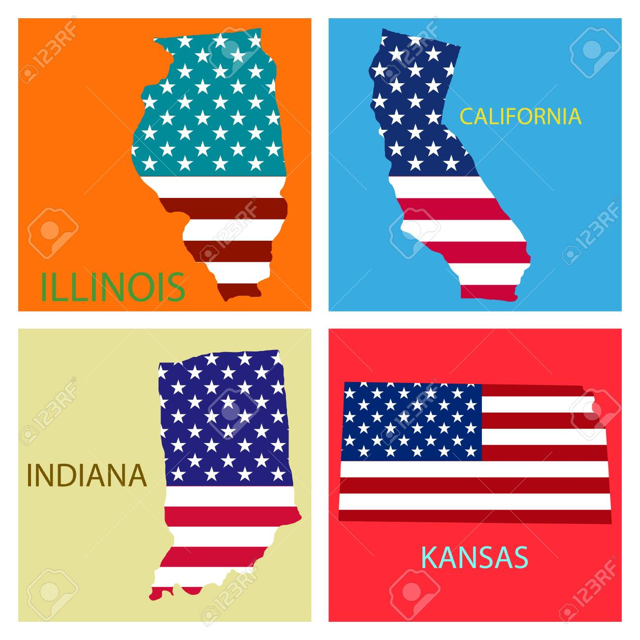 State Map Of United States Of America.Poster Map Of United States Of America With State Names Flag