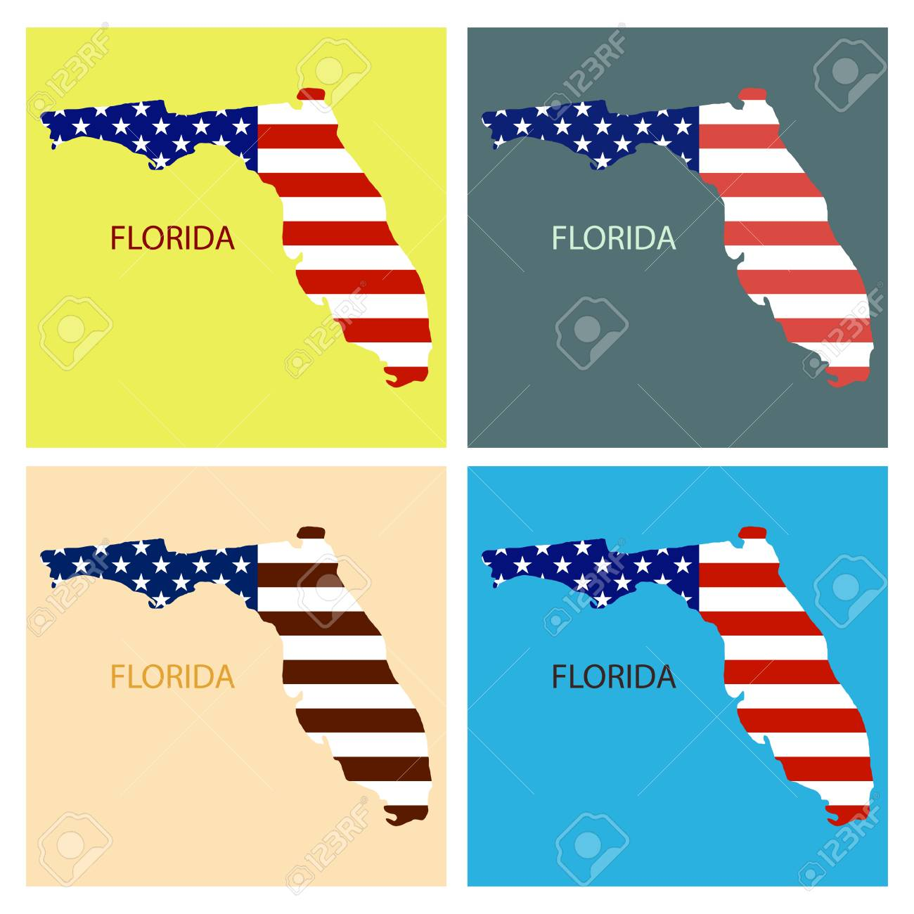 America Map Florida.Florida State Of America With Map Flag Print On Map Of Usa For
