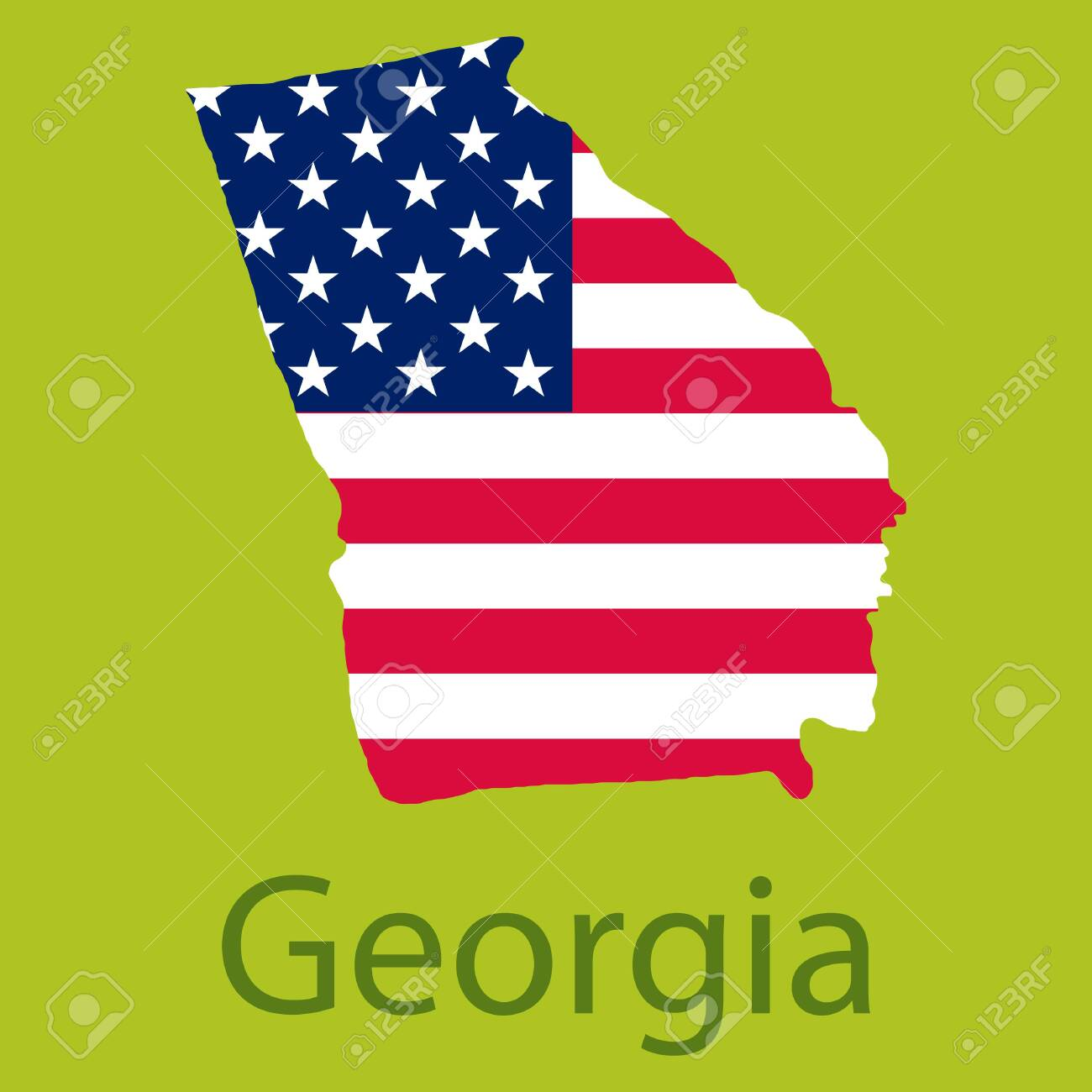 Georgia state of America with map. Flag print on map of USA for.. on georgia on map of asia, georgia on us map, georgia on europe map,