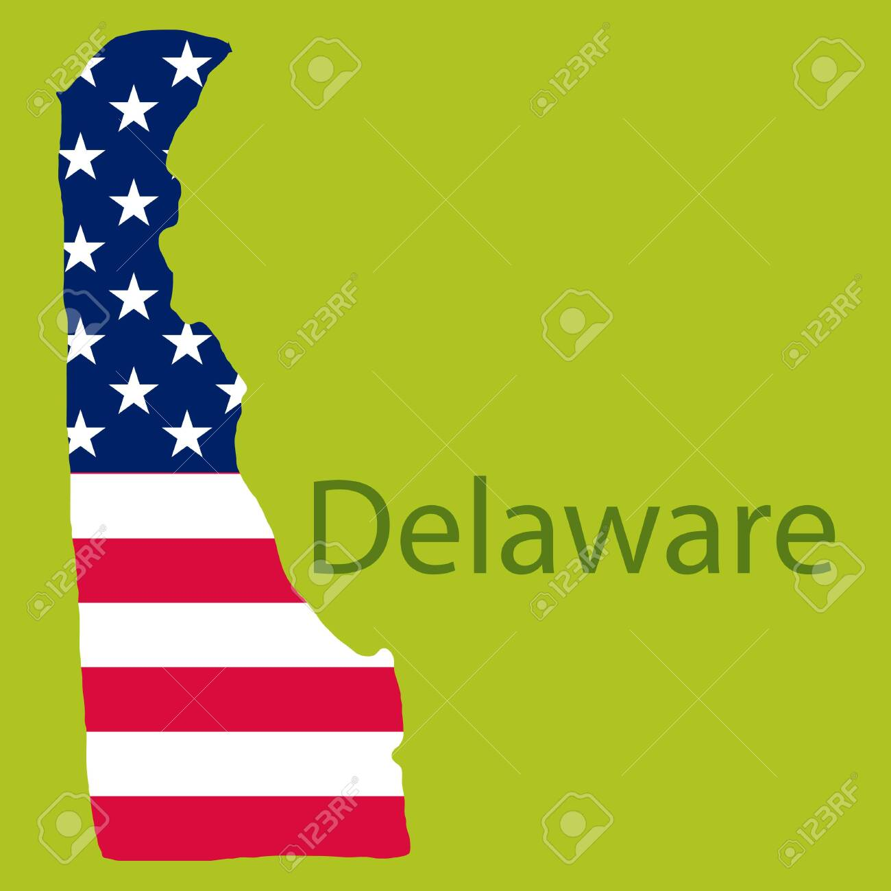 Delaware State Of America With Map Flag Print On Map Of Usa - Us-map-delaware-state