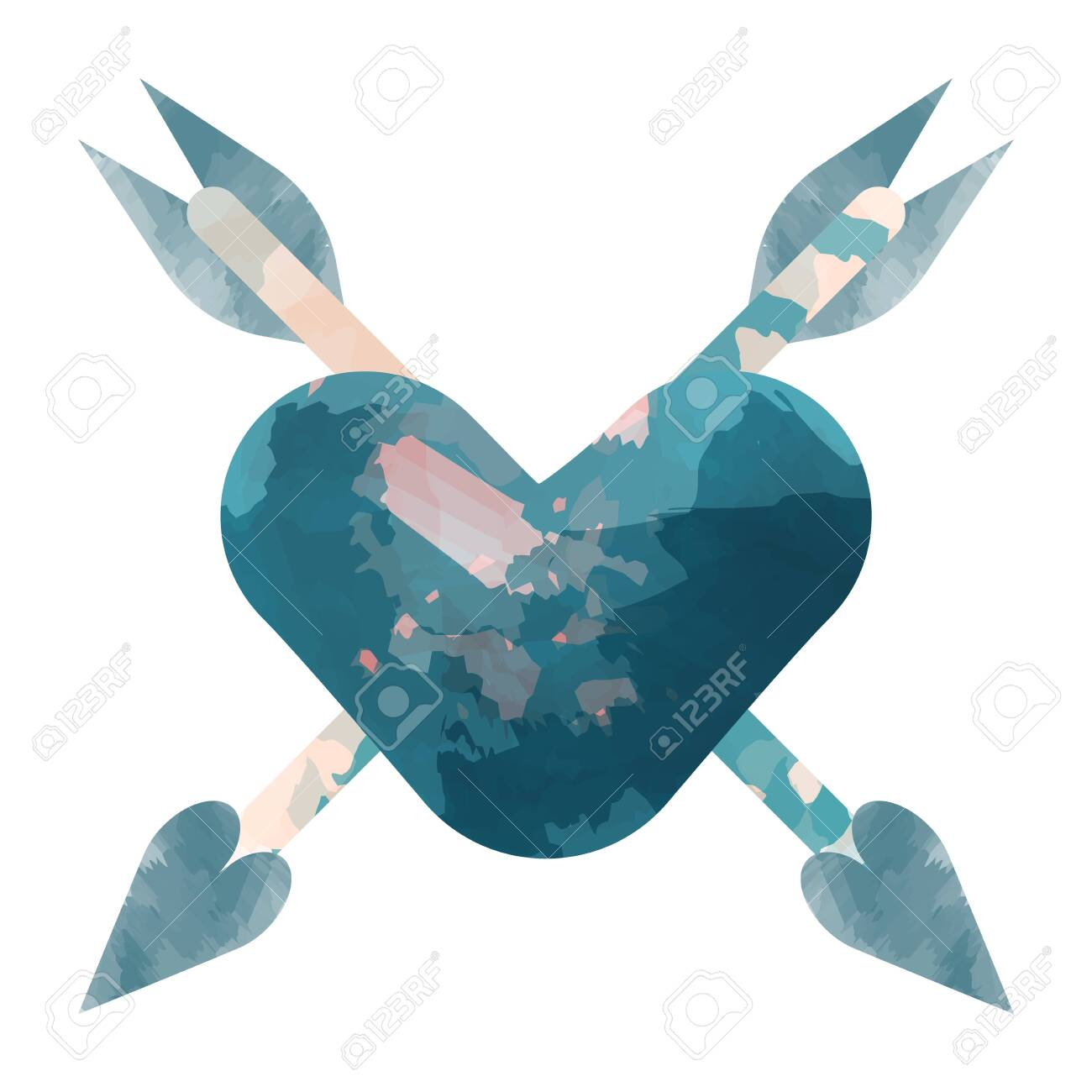 Heart with arrow. Pink watercolor concept for fall in love. Vector illustration. - 128904209