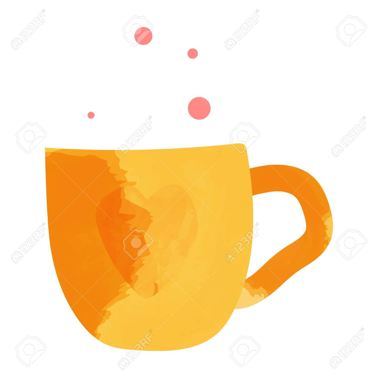 Watercolor hand drawn painted tea vector illustration. Menu design - 134489148