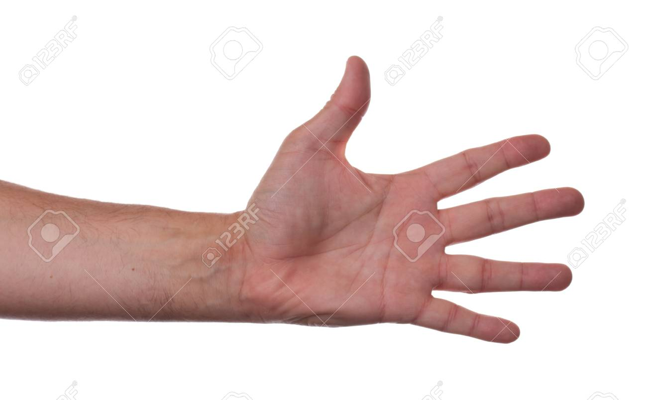 Hand counting five on white background Stock Photo - 9779054
