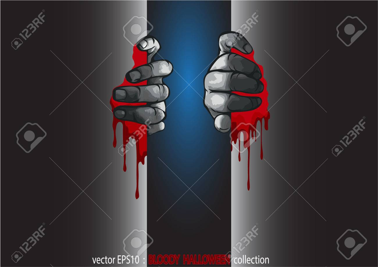 halloween collection. two hands and the blood royalty free cliparts