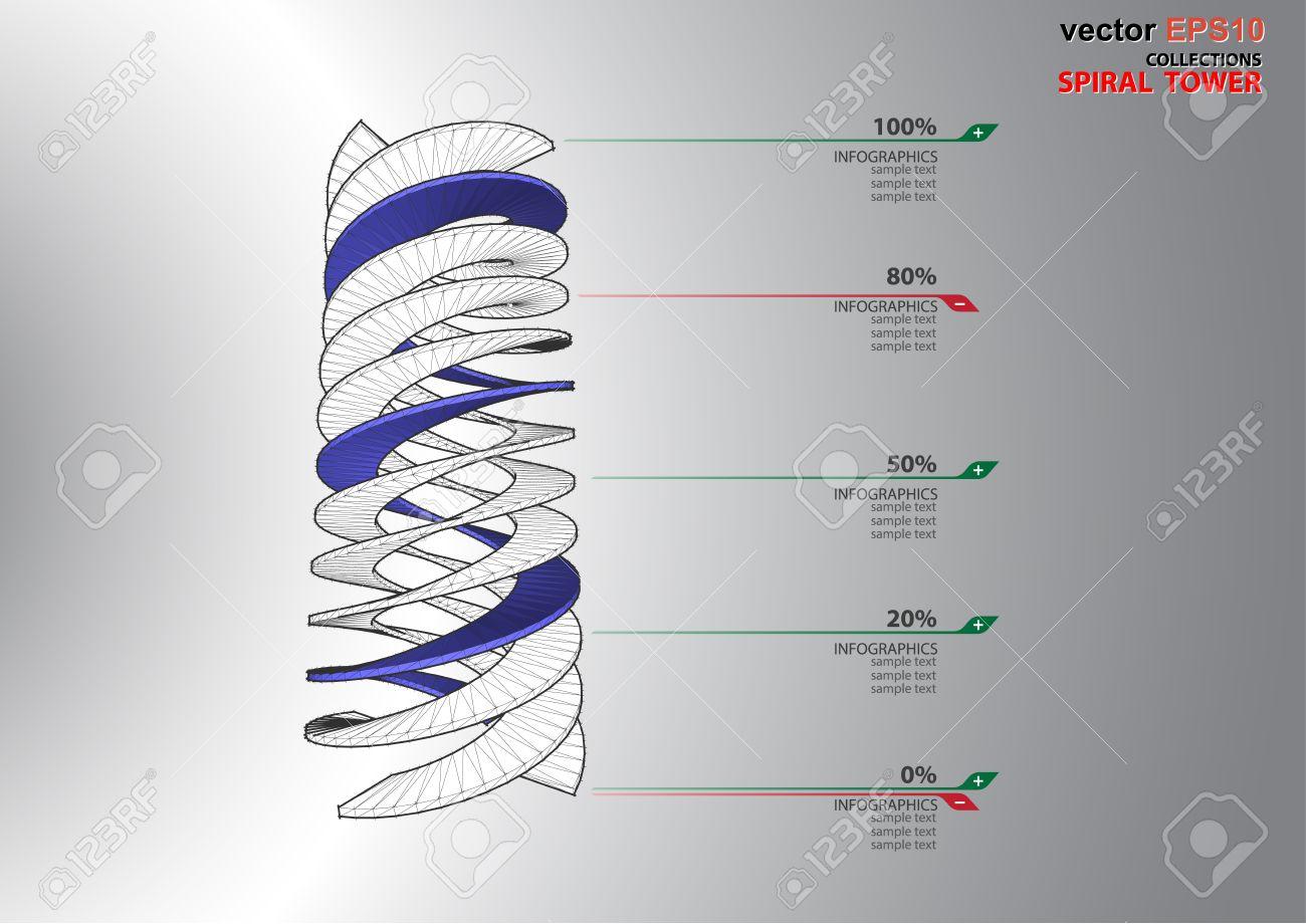 el d dimensiones escalera en espiral de color blanco espectro foto de archivo
