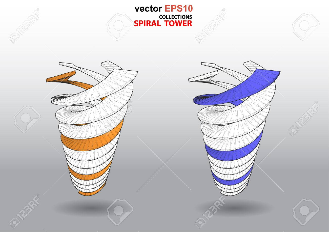 The 3D Dimensions Spiral Stair White Spectrum Color For EPS 10 Vector  Infographics Stock Vector