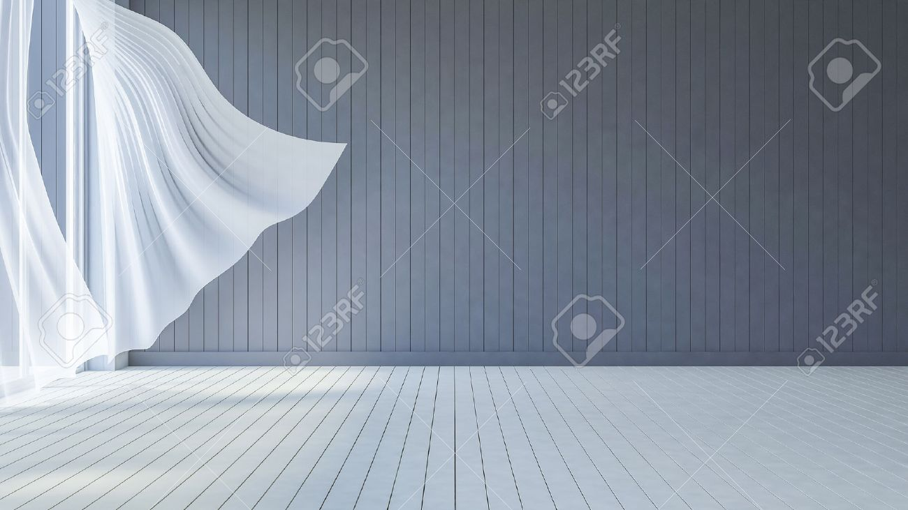 3ds Rendered Image Of Seaside Room , White Fabric Curtains Being ...