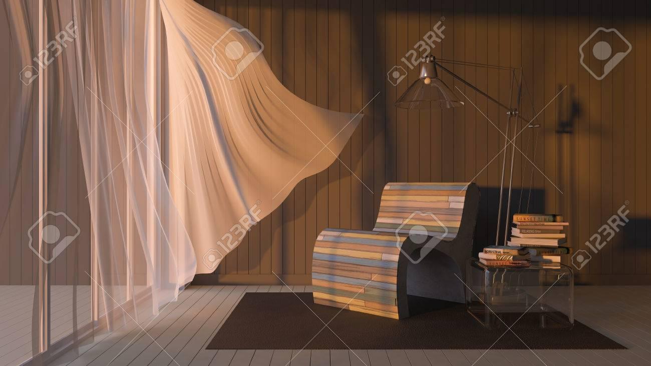 Image de salon qui ont mur gris foncé et blanc bois parquet et coloré vieux  canapé en bois 3ds rendus, rideaux en tissu blanc soufflées par le vent de  ...