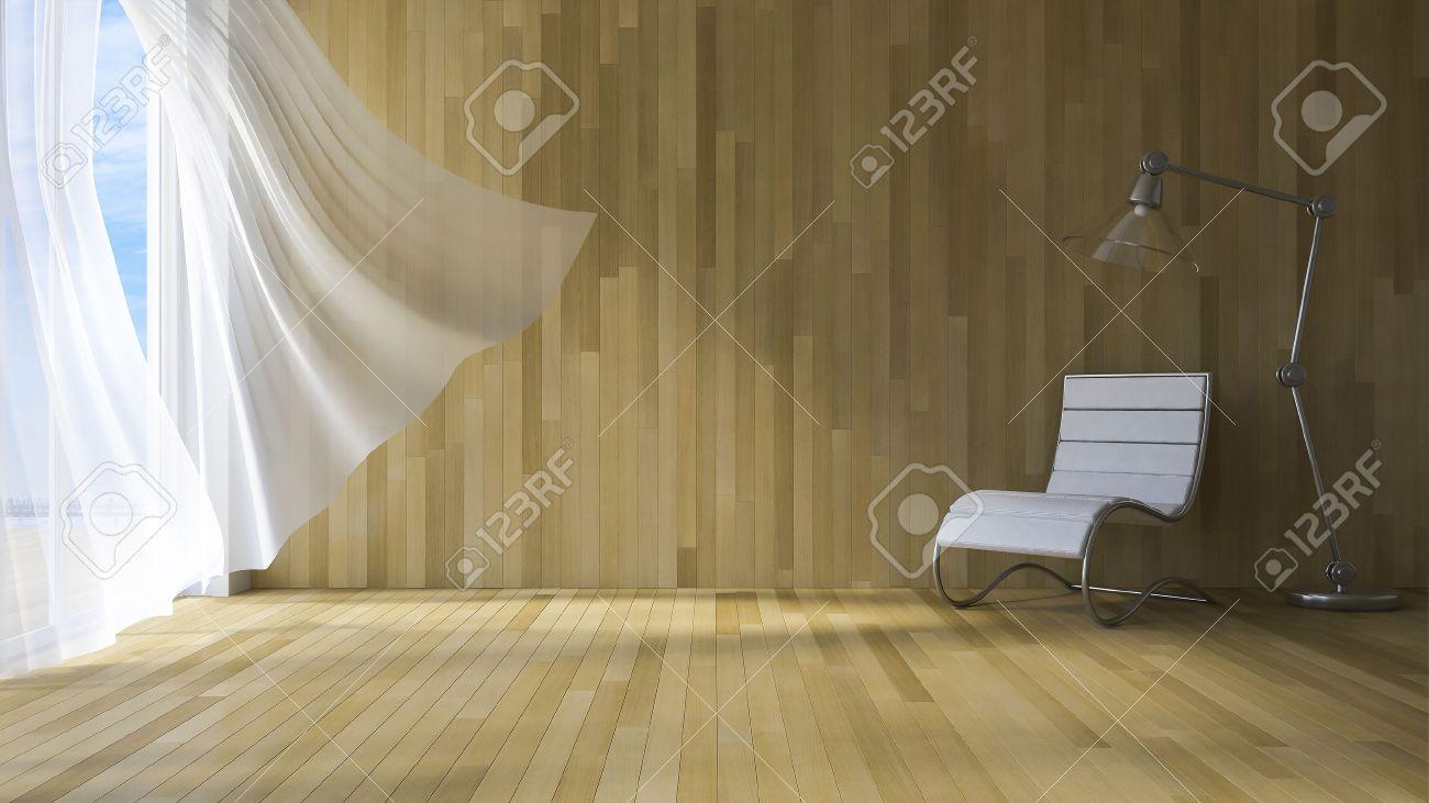 3ds image rendue de chambre bord de mer, blanc tissu rideaux étant soufflé  par le vent de la mer, mur en bois et plancher, chaise et lampe