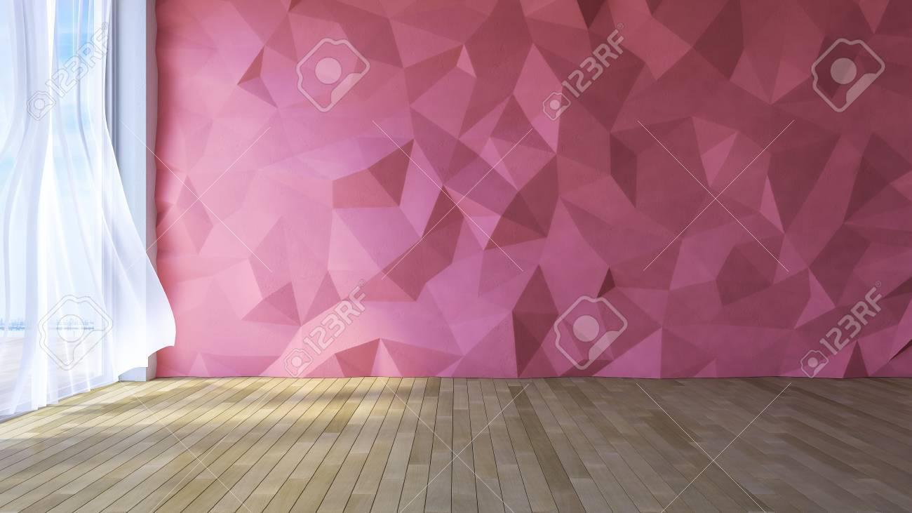 3ds rendu image de chambre de style loft, couleur rouge faible polygone  crackerd mur de béton rose, blanc tissu rideaux soufflées par le vent, la  ...