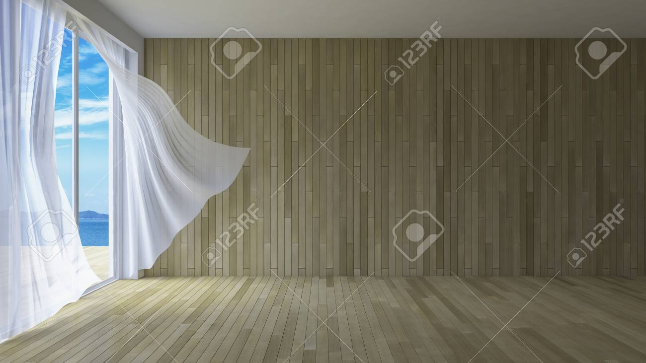 3ds Rendered Image Of Simple Style Room, White Fabric Curtains ...