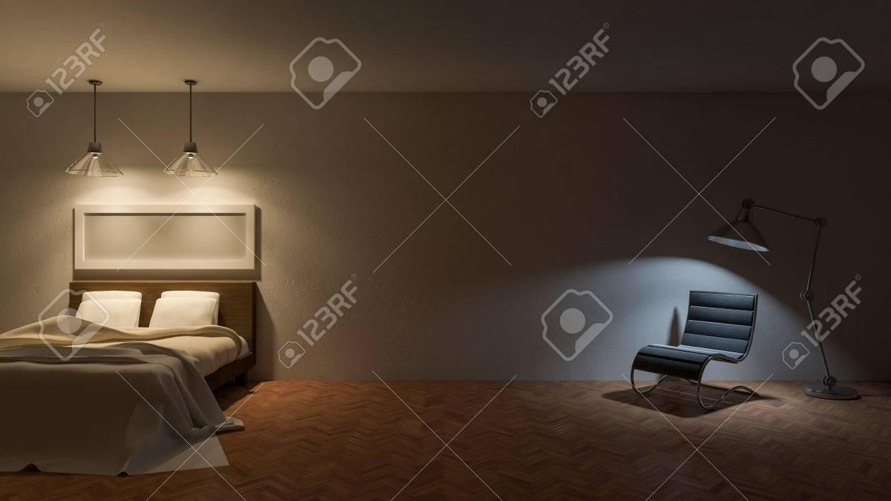 3ds Bild-Bett-Zimmer In Der Nacht, Warmes, Weißes Licht über Dem ...