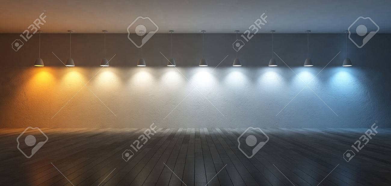 3D renderuing image of 10 hanging lamps which use different bulbs