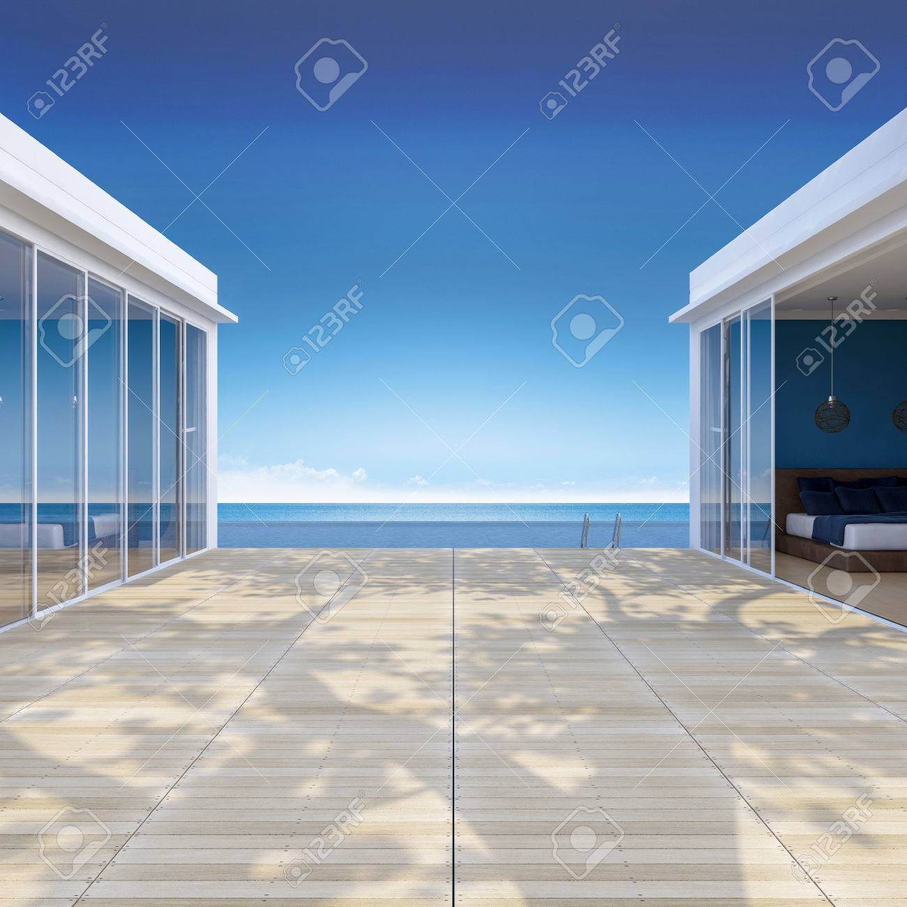 Imagen 3d De La Casa De La Playa Que Tiene Gran árbol En La Terraza De Madera Piscina De Natación Las Hojas De Sombra En El Piso
