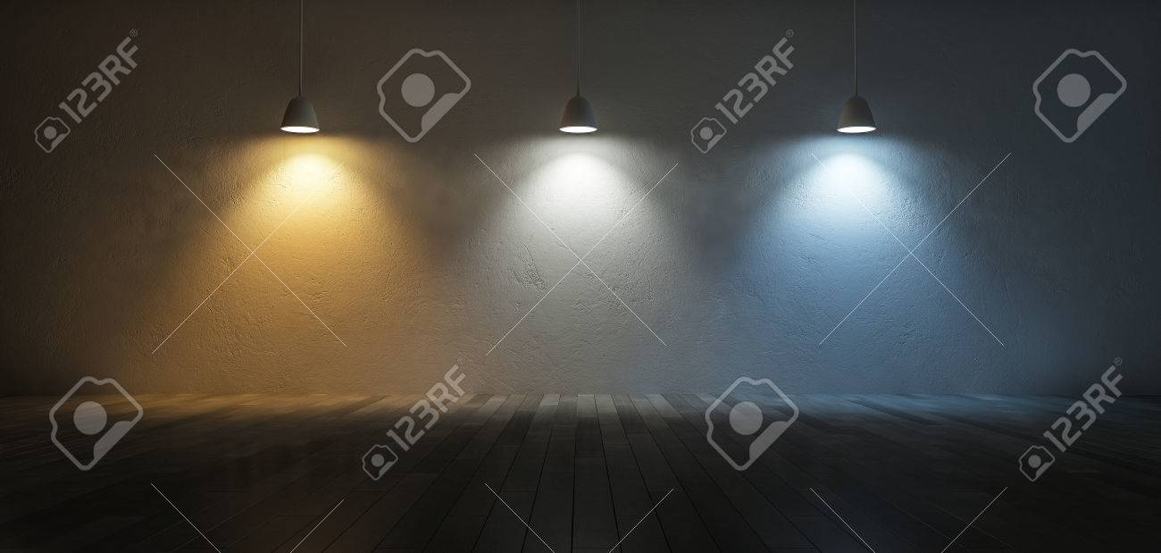 3D rendering image of 3 hanging lamps which use different bulbs. Color temperature scale. Cool white,warm white, day light. 3 colors of light on the cracked concrete wall and wooden floor - 57654022