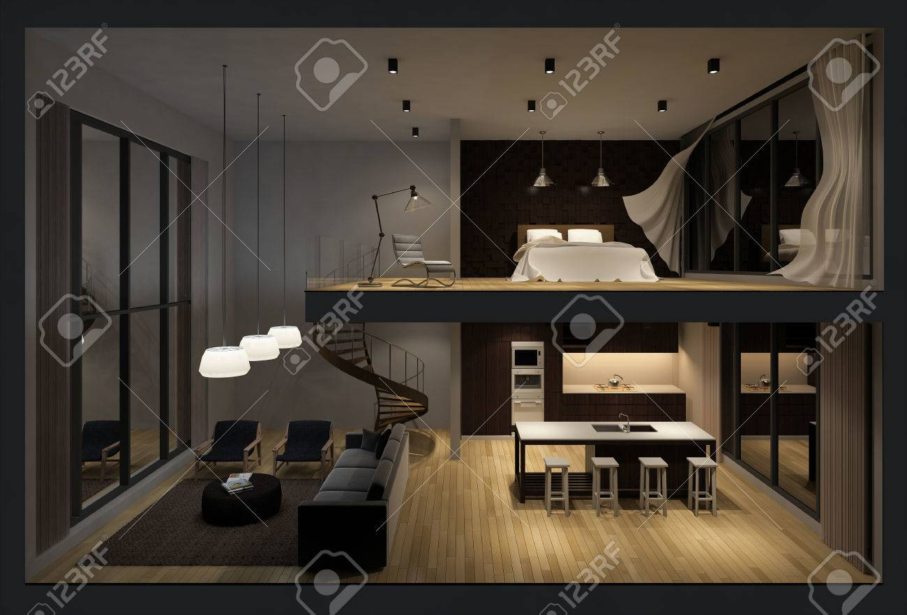 3d Rendering Image Of Double Space Apartment In Living Box White