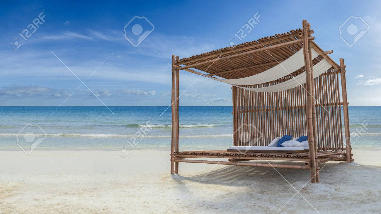 3D rendering image of bamboo tent which cover by fabric loacted on the beach fabric & 3D Rendering Image Of Bamboo Tent Which Cover By Fabric Loacted On ...
