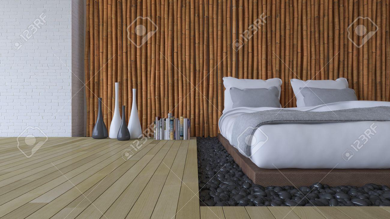 Slaapkamer Zwarte Muren : 3d rendering beeld van de slaapkamer witte bed op lederen voet in