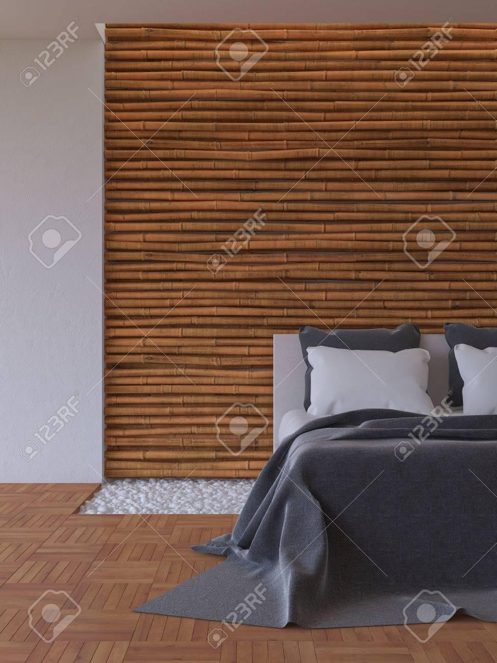 3D-Rendering-Bild Schlafzimmer, Weiß Und Dunkelgrau Bett Auf ...