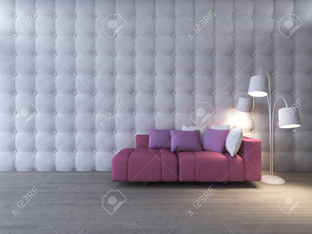 Fine 3D Rendering Image Of Interior Design Living Room Pink Sofa Onthecornerstone Fun Painted Chair Ideas Images Onthecornerstoneorg