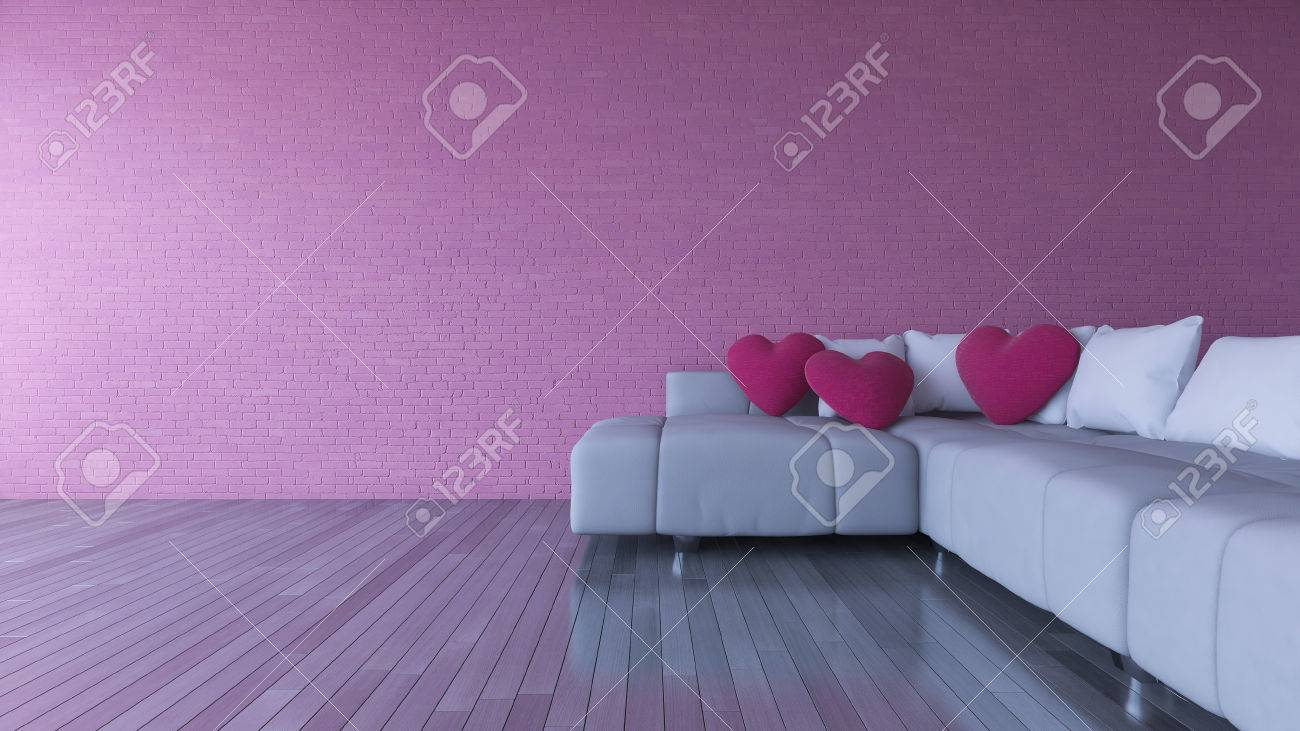 Terrific 3D Rendering Image Of Interior Design Living Room Pink Heart Onthecornerstone Fun Painted Chair Ideas Images Onthecornerstoneorg