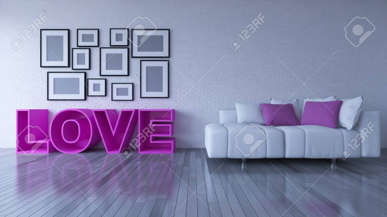 Cool 3D Rendering Image Of Interior Design Living Room The Pink Color Onthecornerstone Fun Painted Chair Ideas Images Onthecornerstoneorg