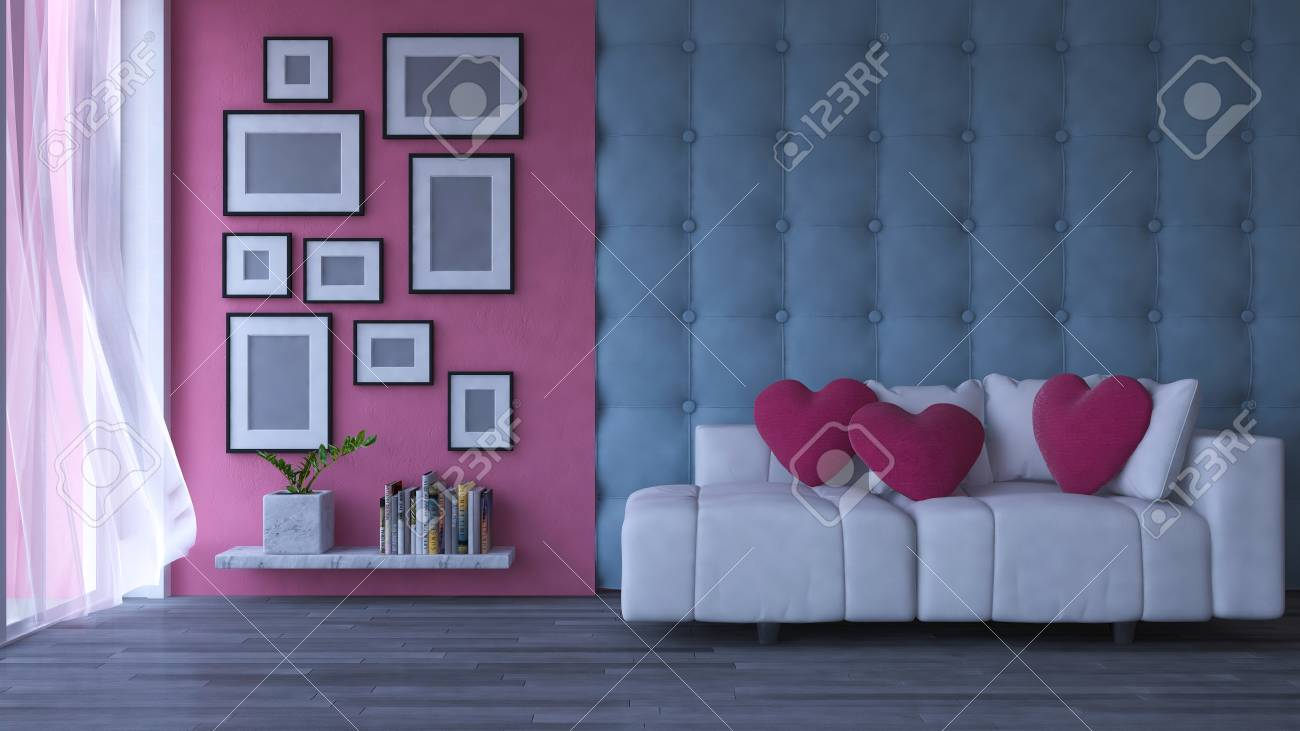 Fantastic 3D Rendering Image Of Interior Design Living Room Pink Heart Onthecornerstone Fun Painted Chair Ideas Images Onthecornerstoneorg