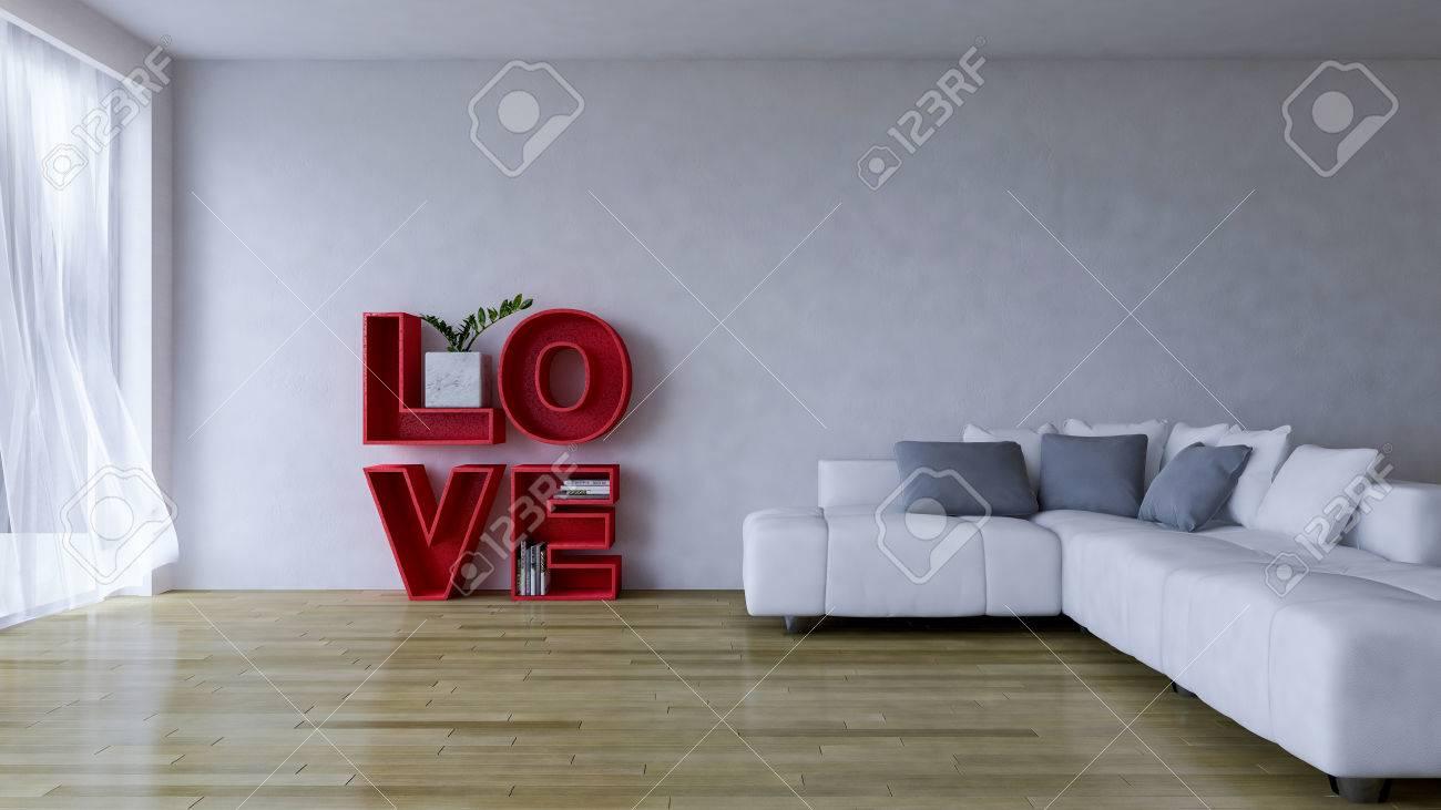 3d Rendering Image Of Interior Design Living Room The White