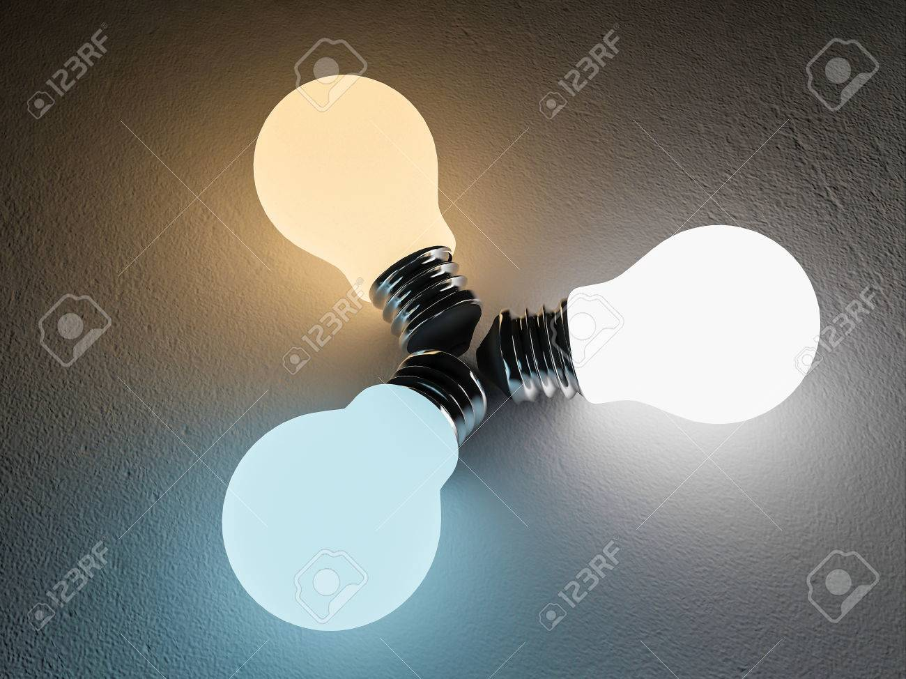 3D Rendering Image Of 3 Light Bulb Or Lamps Place On The Cracked Concrete  Floor.
