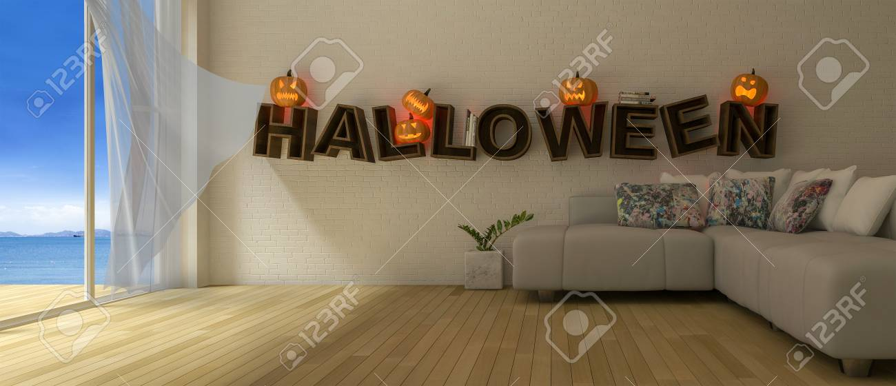 3d rendering image of living room which have Pumkind heads on..