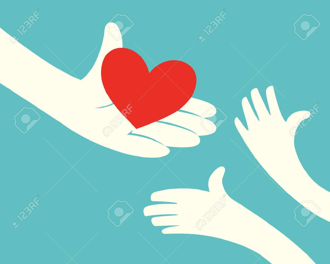 Close up of hand holding red heart and hands of children on green background - 52375223