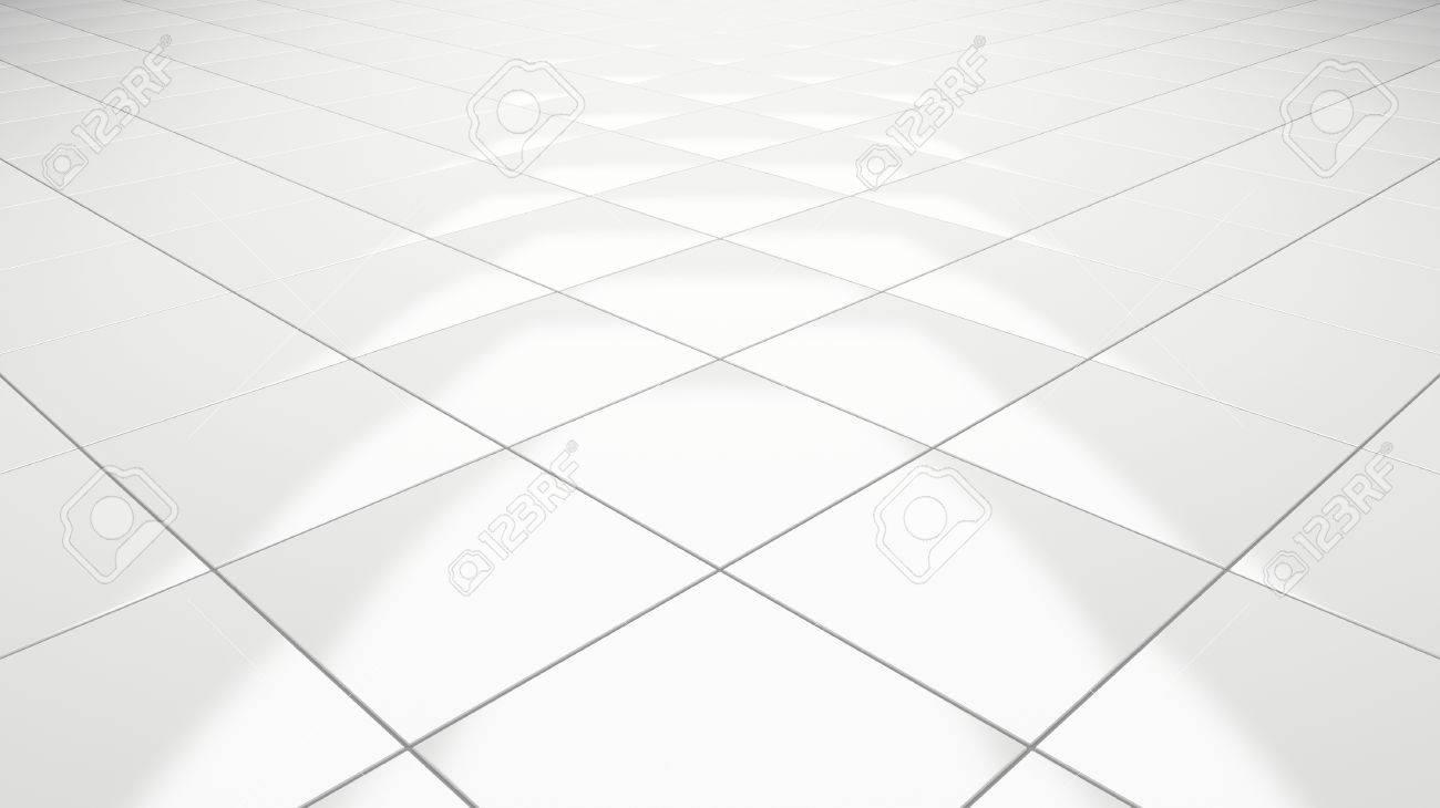 Clean white tile floor 3d rendering perspective - 83549460