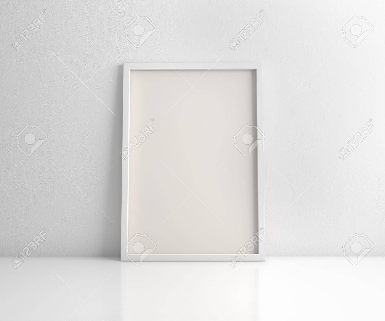 White Frame On The White Wall And Floor 3d Rendering Stock Photo ...