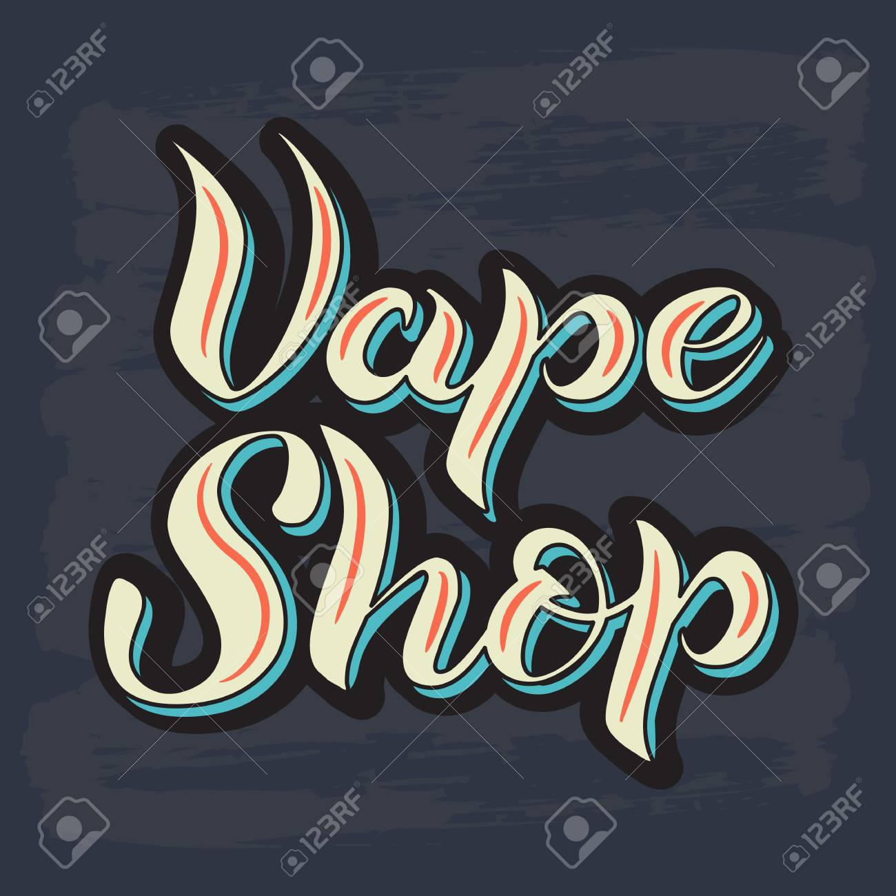 vector illustration with graphic elements and lettering vape