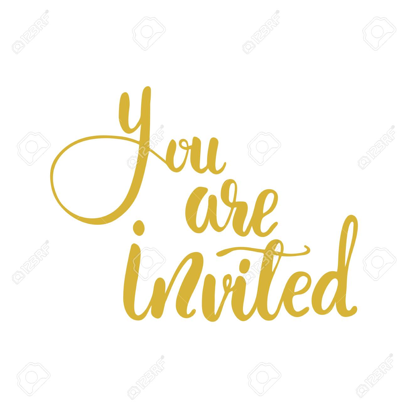 Lettering You Are Invited Vector Illustration Royalty Free Cliparts