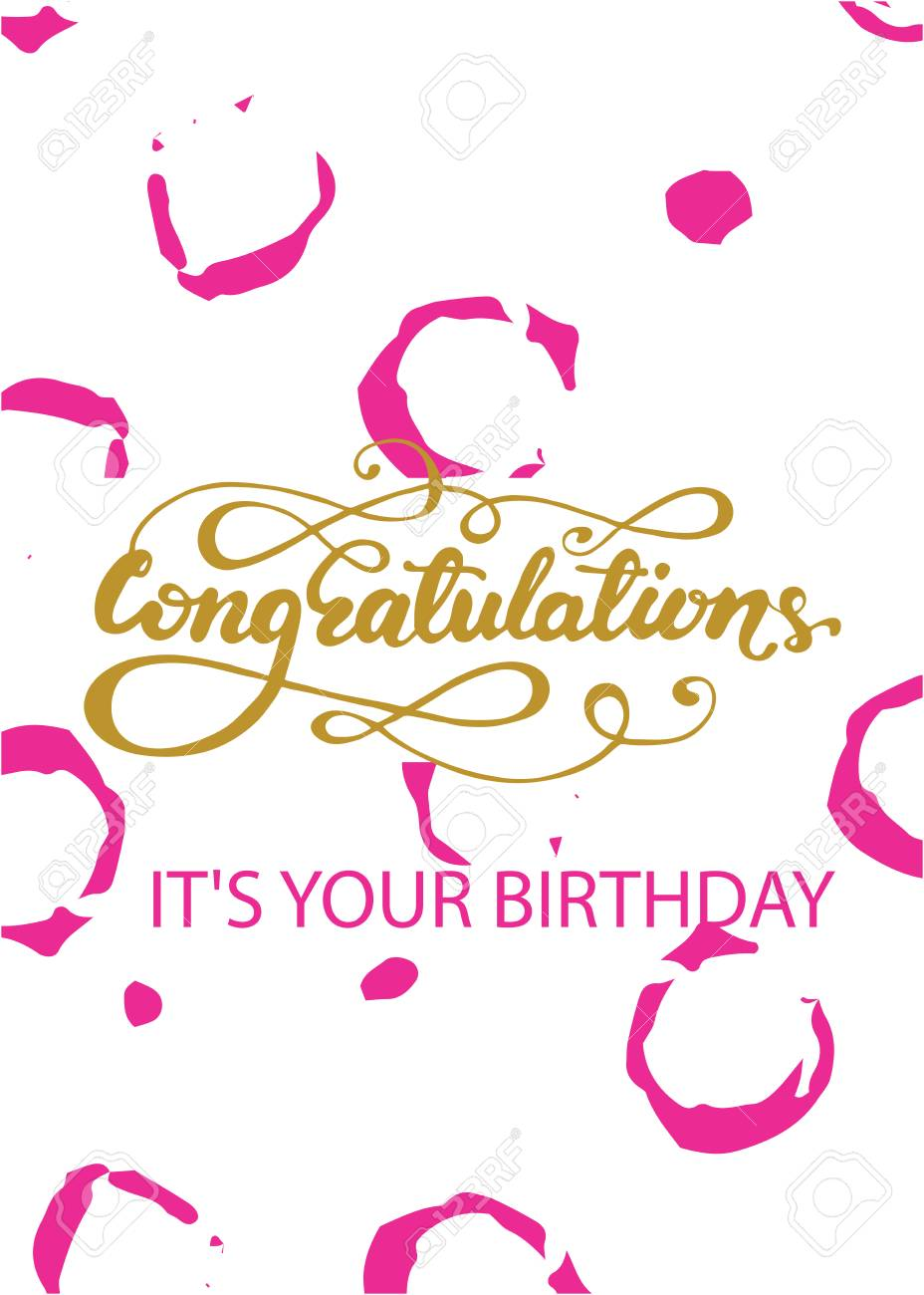 Birthday Greeting Card Design With Congratulations Its Your Typography Stock Vector