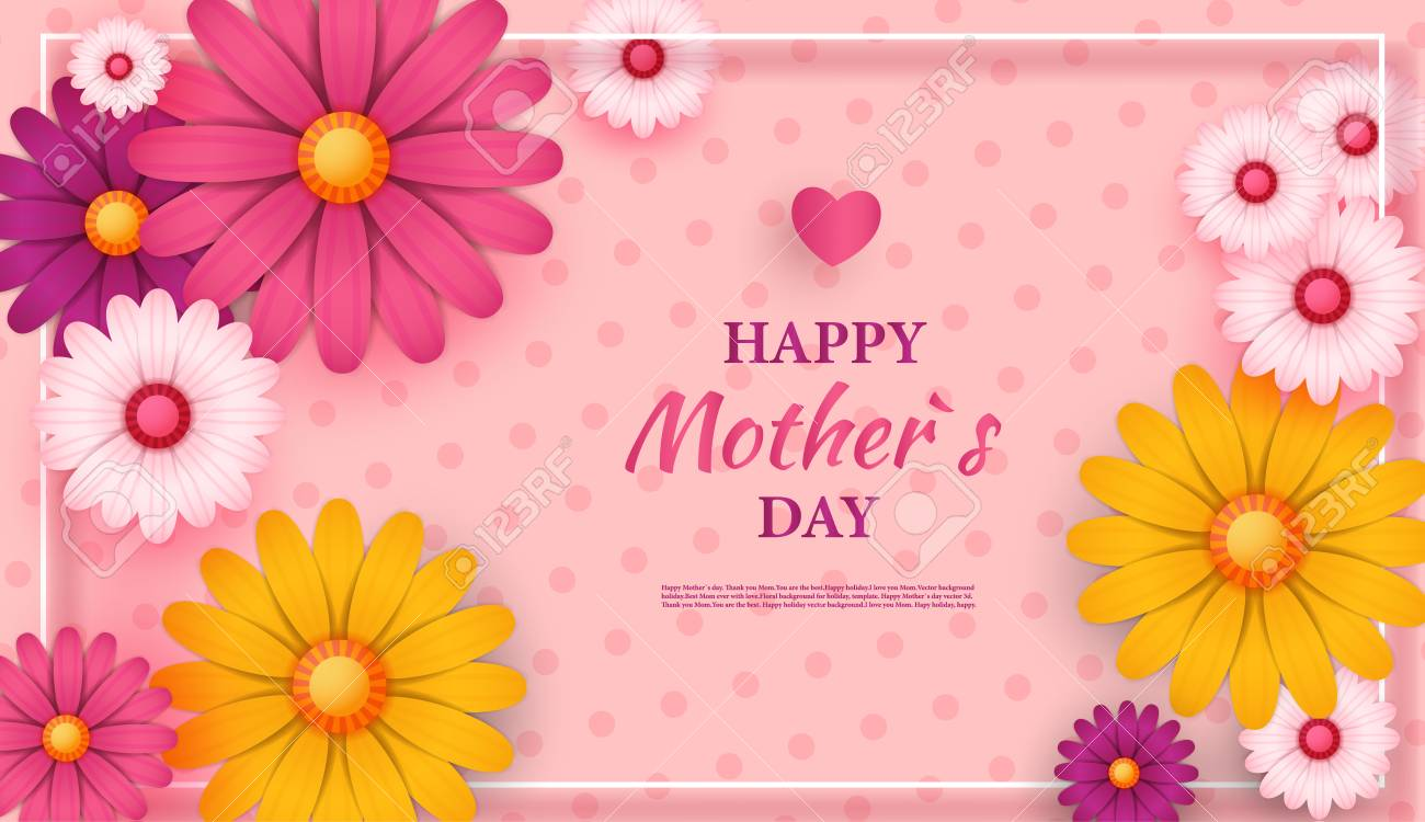 Mothers Day Greeting Card With Square Frame And Paper Cut Flowers